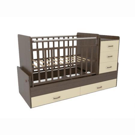Кроватка-трансформер СКВ-5 5 ящиков (венге-бежевый) 544038-9) обычная кроватка скв компани 234005 натуральная