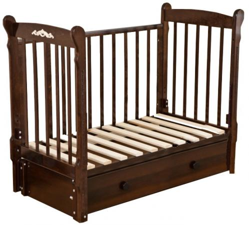 Кроватка с маятником Красная Звезда Артем (шоколад/накладка №6 Шарлотта) кроватка с маятником красная звезда артем белый накладка 6