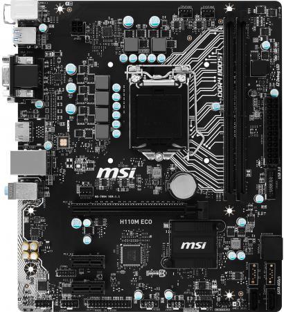 Материнская плата MSI H110M ECO Socket 1151 H110 2xDDR4 1xPCI-E 16x 2xPCI-E 1x 4 mATX Retail msi original zh77a g43 motherboard ddr3 lga 1155 for i3 i5 i7 cpu 32gb usb3 0 sata3 h77 motherboard