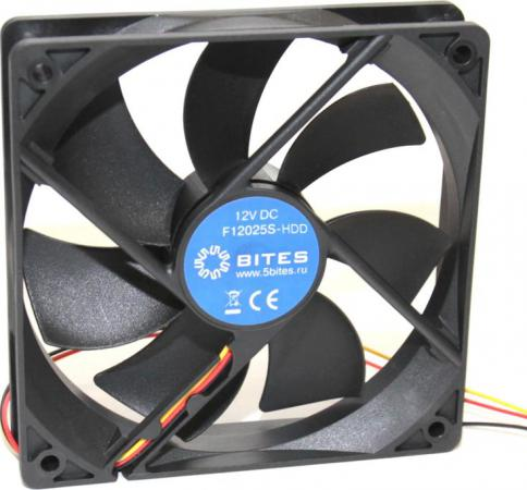 Вентилятор 5bites F12025S-HDD 120x120x25 4pin 25dB 1200rpm вентилятор deepcool gf140 140x140x26 4pin 26 7db 1200rpm 179g черный