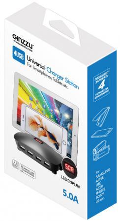 Сетевое зарядное устройство Ginzzu GA-3025 5А USB черный ginzzu ga 3412ub black сетевое зарядное устройство кабель micro usb