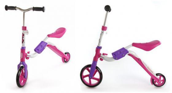 Самокат двухколёсный Moby Kids 2 в 1 розовый 64627