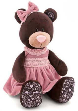 Мягкая игрушка медведь Orange Milk в розовом бархатном платье 50 см коричневый текстиль М5043/50 orange медведь девочка milk с сердцем 25 см
