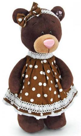 Мягкая игрушка медведь ORANGE Milk в платье в горох 30 см коричневый текстиль М5052/30
