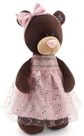 Мягкая игрушка медведь Orange Milk стоячая в платье с блёстками 30 см коричневый искусственный мех М5048/30 orange медведь девочка milk с сердцем 25 см
