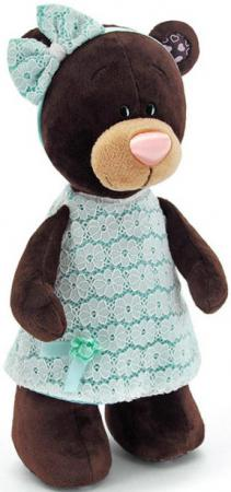 Мягкая игрушка медведь Orange Milk стоячая в платье цвета мяты 30 см коричневый текстиль М5044/30 orange медведь девочка milk с сердцем 25 см