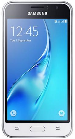 Смартфон Samsung Galaxy J1 2016 белый 4.5 8 Гб LTE Wi-Fi GPS 3G SM-J120FZWDSER смартфон samsung sm g532 galaxy j2 prime серебристый 5 8 гб lte wi fi gps 3g sm g532fzsdser