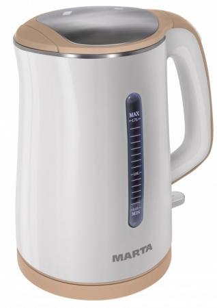 Чайник Marta Marta MT-1065 1700 Вт 1.7 л пластик белый бежевый набор столовых приборов marta mt 2701 twinkle