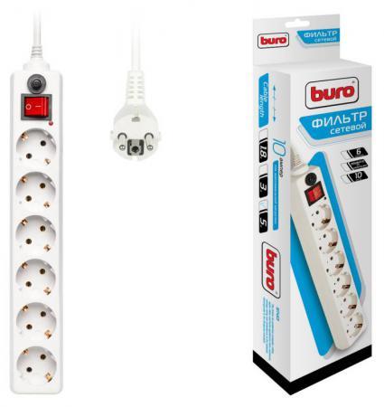 Сетевой фильтр BURO 600SH-5-W 6 розеток 5 м белый сетевой фильтр buro 600sh 5 b 6 розеток 5 м черный