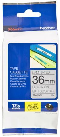 Лента ламинирования Brother TZE-M961 36мм черный на серебристом brother tze325 black white лента для матричного принтера 9 мм