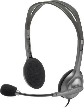 Гарнитура Logitech Stereo Headset H111 серый 981-000593 цена