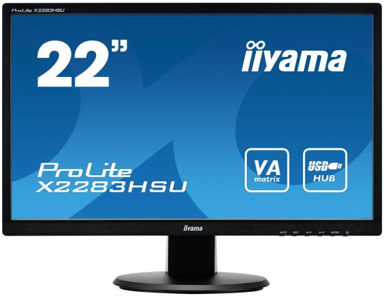 "Монитор 22"" iiYama Pro Lite X2283HSU-B1DP черный VA 1920x1080 250 cd/m^2 5 ms VGA DVI DisplayPort Аудио USB монитор 22 dell p2213 черный tn 1680x1050 250 cd m^2 5 ms dvi displayport vga usb 2213 1217"