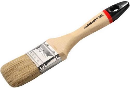 Кисть плоская Stayer UNIVERSAL-EURO натуральная щетина деревянная ручка 50мм 0102-050 кисть радиаторная universal master нат щетина 50мм stayer 0110 50 z01
