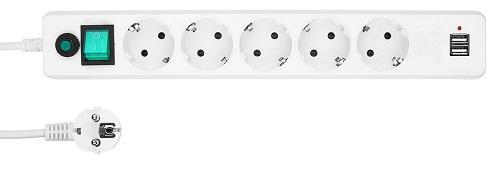Удлинитель Gembird EHW-6-USB 5 розеток 2xUSB 1.8 м cтяжка пластиковая gembird nytfr 150x3 6 150мм черный 100шт