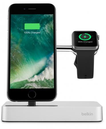 Док-станция Belkin Charge Dock for Apple Watch + iPhone F8J183 F8J183VFSLV-APL док станция belkin powerhouse для apple watch iphone белый
