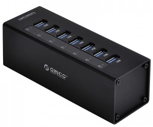 Концентратор USB 3.0 Orico A3H7-BK 7 x USB 3.0 черный orico sc1 bk usb sound card splitter headphone converter