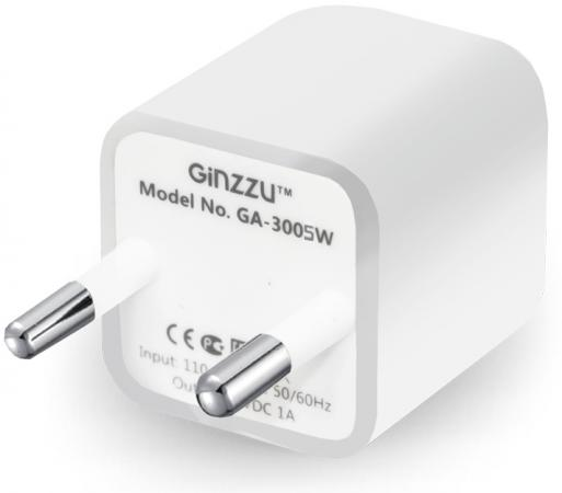 Сетевое зарядное устройство Ginzzu GA-3005W 1A USB белый