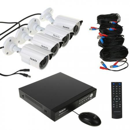 Комплект видеонаблюдения Falcon Eye FE-0104AHD KIT Защита 4 уличные камеры 4-х канальный видеорегистратор установочный комплект