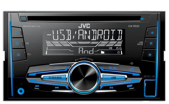 Автомагнитола JVC KW-R520 USB MP3 CD FM RDS 2DIN 4x50Вт черный автомагнитола kenwood kdc bt500u usb mp3 cd fm rds 1din 4х50вт черный