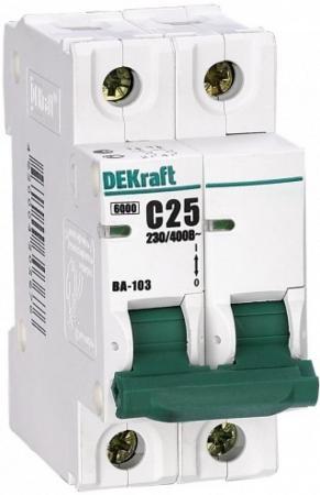 Автоматический выключатель DEKraft ВА-103 2П 25А C 6кА 12076DEK  автоматический выключатель dekraft ва 103 3п 16а c 6ка 12090dek