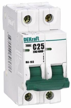 Автоматический выключатель DEKraft ВА-103 3П 63А C 6кА 12096DEK цена 2017