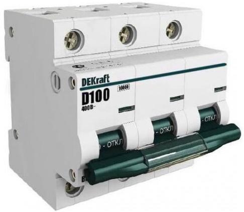 Автоматический выключатель DEKraft ВА-201 3П 63А С 10кА 13007DEK  автоматический выключатель dekraft ва 103 3п 16а c 6ка 12090dek