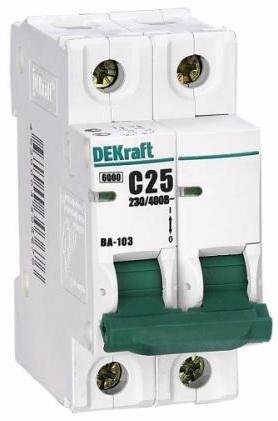 Автоматический выключатель DEKraft ВА-103 3П 6А C 6кА 12086DEK цена в Москве и Питере
