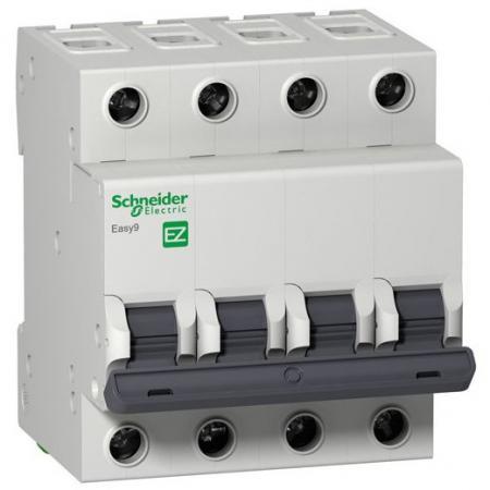Автоматический выключатель Schneider Electric EASY 9 4П 25A C EZ9F34425 автоматический модульный выключатель easy 9 3п c 50а 4 5ка schneider electric ez9f34350