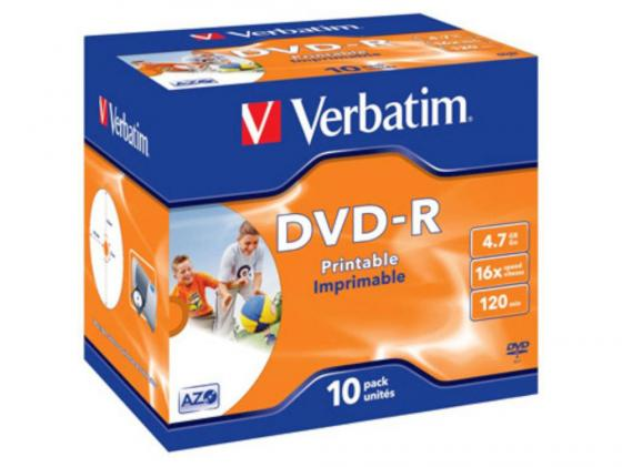 Диски DVD-R 16x 4.7Gb Jewel 10шт Printable Verbatim 43521 dvd r vs 4 7gb 16х 10шт cake box
