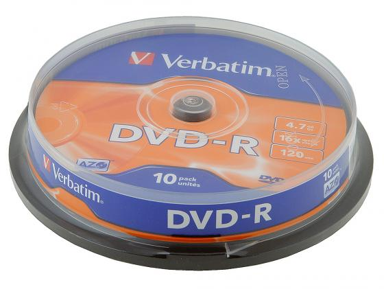 Диски DVD-R Verbatim 16x 4.7Gb CakeBox 10шт Azo 43523 диски cd dvd thunis dvd r dvd r 16x 25