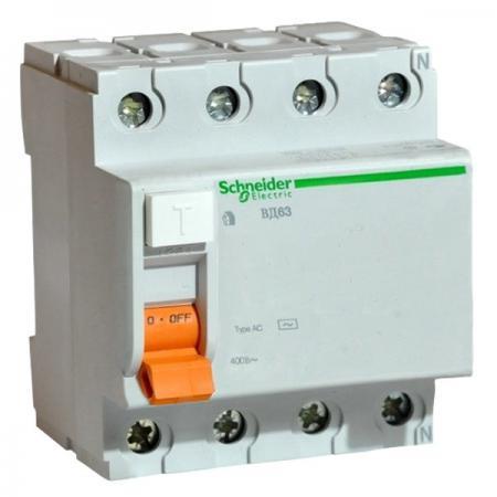Выключатель дифференциального тока Schneider Electric ВД63 4П 40A 30мА 11463 выключатель дифференциального тока узо schneider electric 4п 40а 30ма тип ac iid k acti9 sche a9r50440