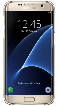 Чехол Samsung EF-QG935CFEGRU для Samsung Galaxy S7 edge Clear Cover золотистый/прозрачный чехол для смартфона samsung для galaxy s7 edge clear view cover серебристый ef zg935csegru ef zg935csegru