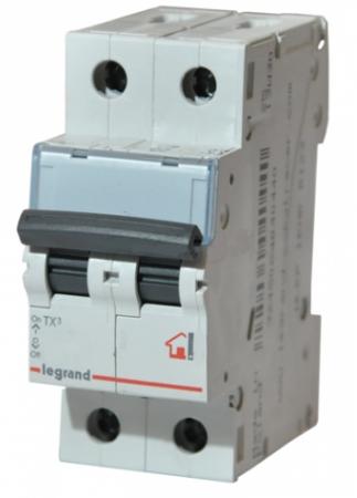 Автоматический выключатель Legrand TX3 6000 тип C 2П 6А 404039 выключатель автоматический модульный legrand 2п c 32а 6ка tx3 404045