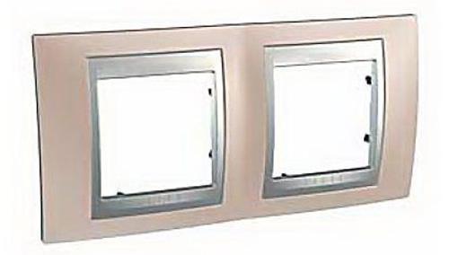 Рамка 2 пост оникс алюминий Schneider Electric MGU66.004.096  рамка 3 пост лунный алюминий schneider electric mgu68 006 7a2