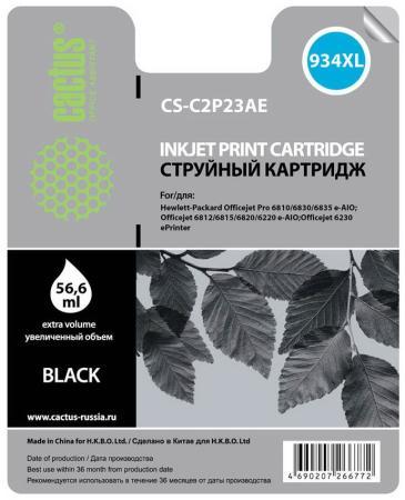 Картридж струйный Cactus CS-C2P23AE №934XL черный для HP DJ Pro 6230/6830 (30мл) картридж cactus cs ch565a 82 для hp dj 510 510 черный