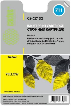 Фото - Картридж струйный Cactus CS-CZ132 №711 желтый для HP DJ T120/T520 (26мл) картридж cactus cs cz133 711 для hp dj t120 t520 черный