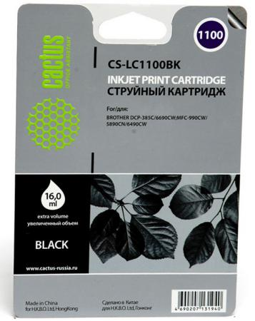 Картридж струйный Cactus CS-LC1100BK черный для Brother DCP-385c/6690cw/MFC-990/5890/5895/6490 (16мл) cactus cs i bt5000y yellow чернила для brother dcp t300 dcp t500w dcp t700w mfc t800w