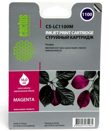 Картридж струйный Cactus CS-LC1100M пурпурный для Brother DCP-385c/6690cw/MFC-990/5890/5895/6490 (16мл) картридж струйный cactus cs lc970y желтый для brother mfc 260c 235c dcp 150c 135c 20мл