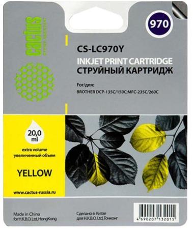 Картридж струйный Cactus CS-LC970Y желтый для Brother MFC-260c/235c/DCP-150c/135c (20мл) картридж cactus cs ept1634 для epson wf 2010 2510 2520 2530 2540 2630 2650 2660 желтый