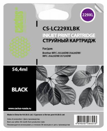 Картридж струйный Cactus CS-LC229XLBK черный для Brother MFC-J5320DW/MFC-J5620DW/MFC-J5625DW (2400стр.) ink cartridge lc225 for brother dcp j4120dw mfc j4420dw mfc j4620dw mfc j4625dw mfc j5320dw mfc j5620dw mfc j5625dw mfc j5720dw