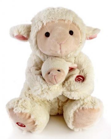 Мягкая игрушка Fluffy Family Мама и малыш Овечка 26 см белый искусственный мех 681018