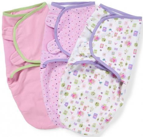 Конверты для пеленания на липучке размер S/M 3 шт. Summer Infant Swaddleme (розовый с совами)