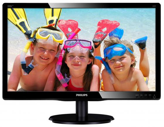 "Монитор 20"" Philips 200V4LAB2/0001 черный TN 1600x900 200 cd/m^2 5 ms DVI VGA Аудио цена и фото"