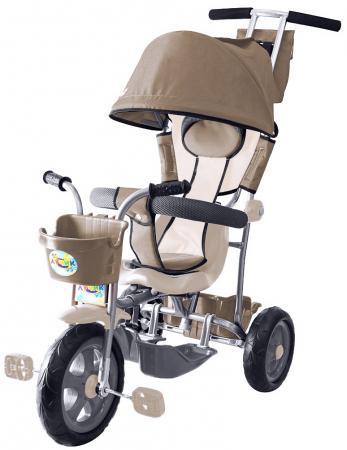 Велосипед трехколёсный Rich Toys Galaxy Лучик с капюшоном 5593/Л001 коричнево-бежевый велосипед для малыша galaxy л001 лучик brown beige
