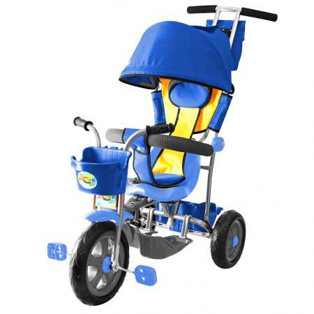 Велосипед трехколёсный RT Galaxy Лучик с капюшоном синий с капюшоном и ручкой Л001