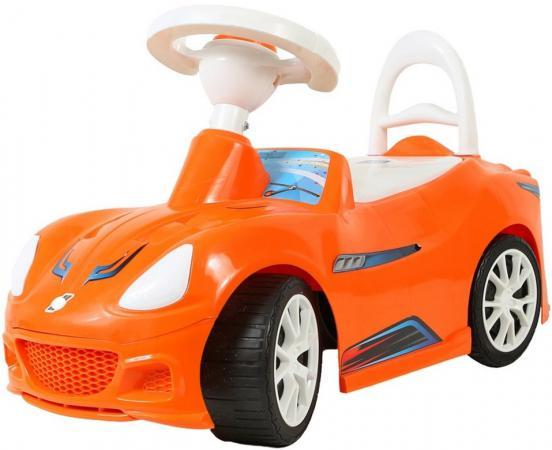 Каталка R-Toys Спорткар пластик от 10 месяцев с клаксоном оранжевый ОР160 велосипед r toys galaxy лучик vivat 10 8 красный трехколёсный