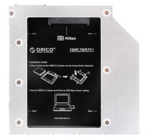 Адаптер HDD в отсек оптического привода ноутбука Orico L95SS-SV 2.5 SATA черный orient uhd 2m2c12 шасси для ssd m 2 ngff для установки в sata отсек оптического привода ноутбука 12 7 мм