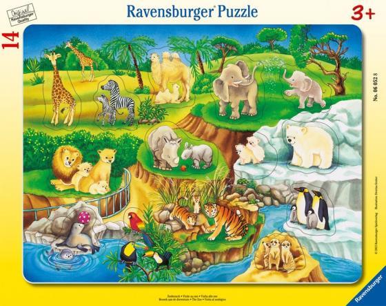 Пазл 14 элементов Ravensburger Зоопарк 06052 водораскраска пазл зоопарк pr1057