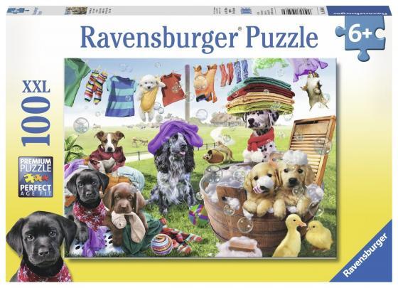 Пазл 100 элементов Ravensburger Красочный день стирки ravensburger пазл красочный день стирки xxl 100 деталей