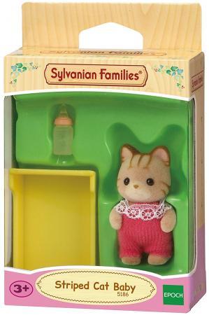 Игровой набор SYLVANIAN FAMILIES Малыш Полосатый котёнок 3 предмета 5186 игрушка sylvanian families малыш полосатый котёнок 5186
